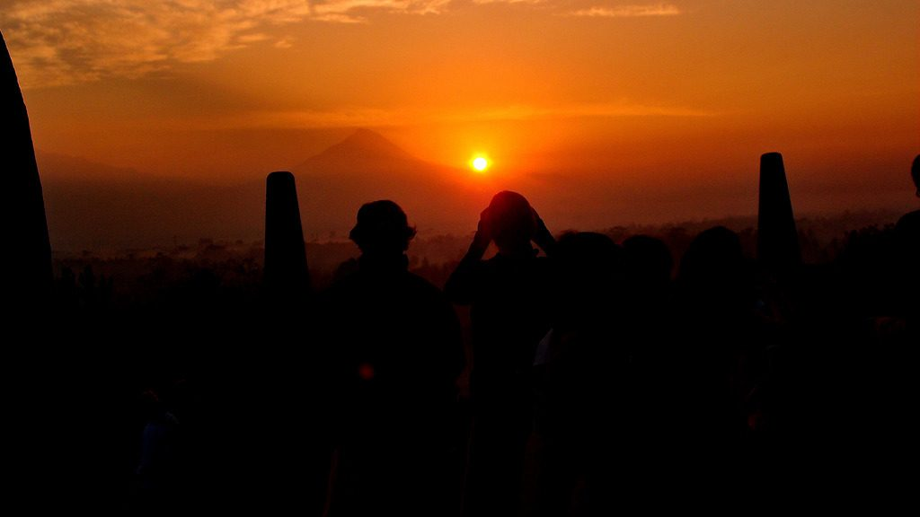 Enjoying Borobudur sunrise moment